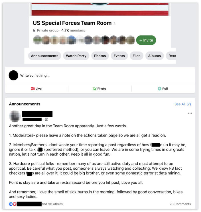 IMAGE: A 2020 announcement in the US Special Forces Team Room group tells members to be careful of what they post because