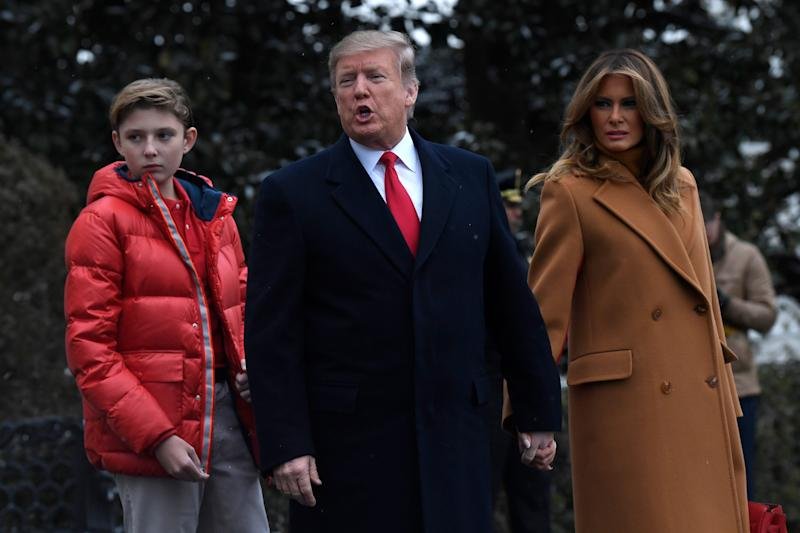 Barron Trump with his parents, President Trump and first lady Melania Trump on Feb. 1, 2019, headed to Marine One on the South Lawn of White House in Washington.