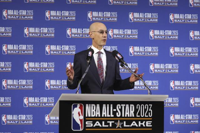 NBA Commissioner Adam Silver speaks during a news conference at Vivint Smart Home Arena, Wednesday, Oct. 23, 2019, in Salt Lake City. The NBA announced that Salt Lake City has been selected to host the NBA All-Star Game in 2023. (AP Photo/Rick Bowmer)