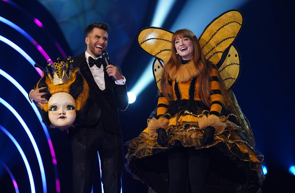 Nicola Roberts hid in a heavy head on 'The Masked Singer' (Bandicoot TV/ITV)