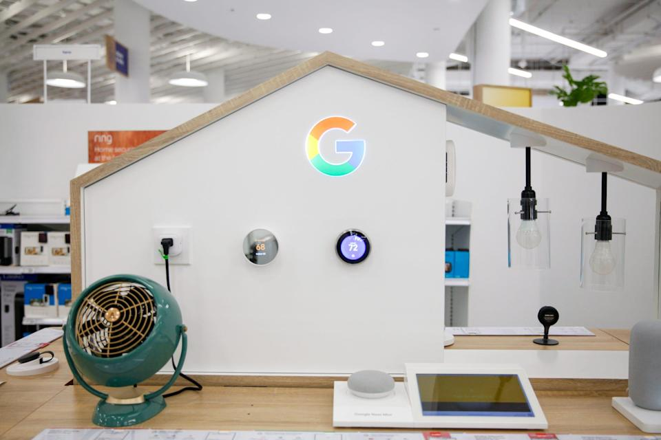 The dedicated Google Home space with products and a lit up Google logo