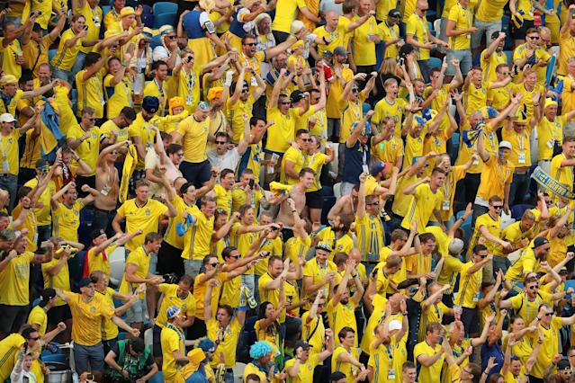 Soccer Football - World Cup - Group F - Sweden vs South Korea - Nizhny Novgorod Stadium, Nizhny Novgorod, Russia - June 18, 2018 Sweden fans REUTERS/Lucy Nicholson