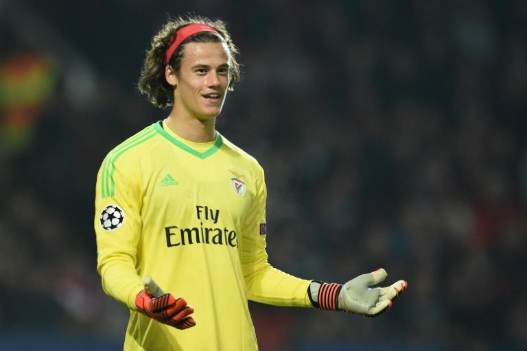 Benfica's goalkeeper Mile Svilar gestures during the UEFA Champions League Group A football match against Manchester United in Manchester, northwest England on October 31, 2017