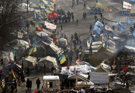Tents of anti-government protesters are seen at Independence Square in central Kiev