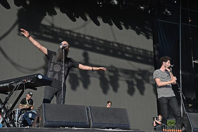 <p>Sebu Simonian (L) and Ryan Merchant of Capital Cities perform onstage during the 2017 Firefly Music Festival on June 17, 2017 in Dover, Delaware. (Photo by Kevin Mazur/Getty Images for Firefly) </p>