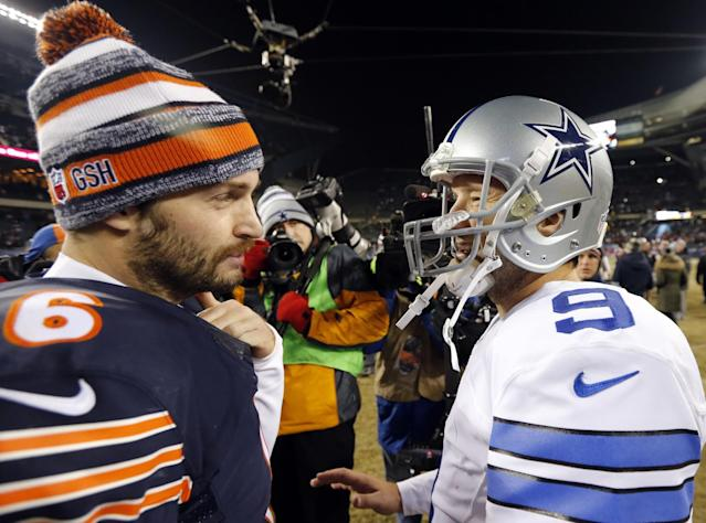 Tony Romo (R) was a celebrated hire at CBS. But Jay Cutler (L) might be the better analyst at Fox right away. (AP)