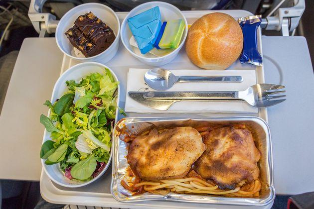 A in-flight meal is seen here on board a flight from Europe to the U.S. in economy class.