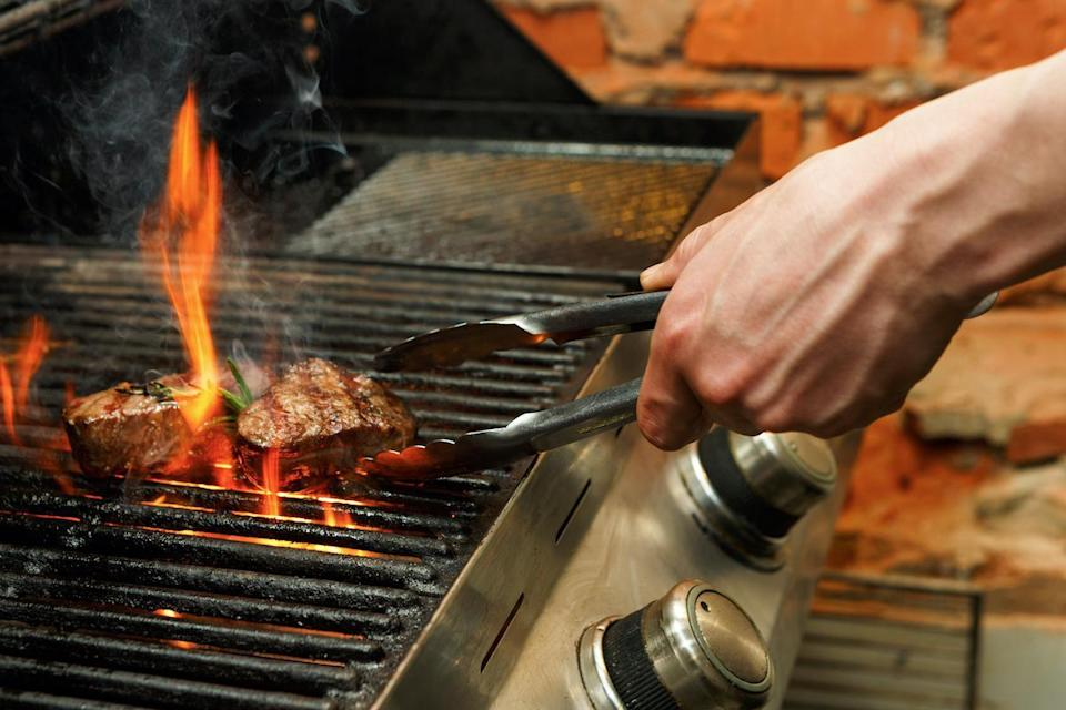 <p>When flipping steaks, use tongs instead of forks, Wasser says. Using a fork will pierce the beef and result in a loss of flavorful juices.</p>