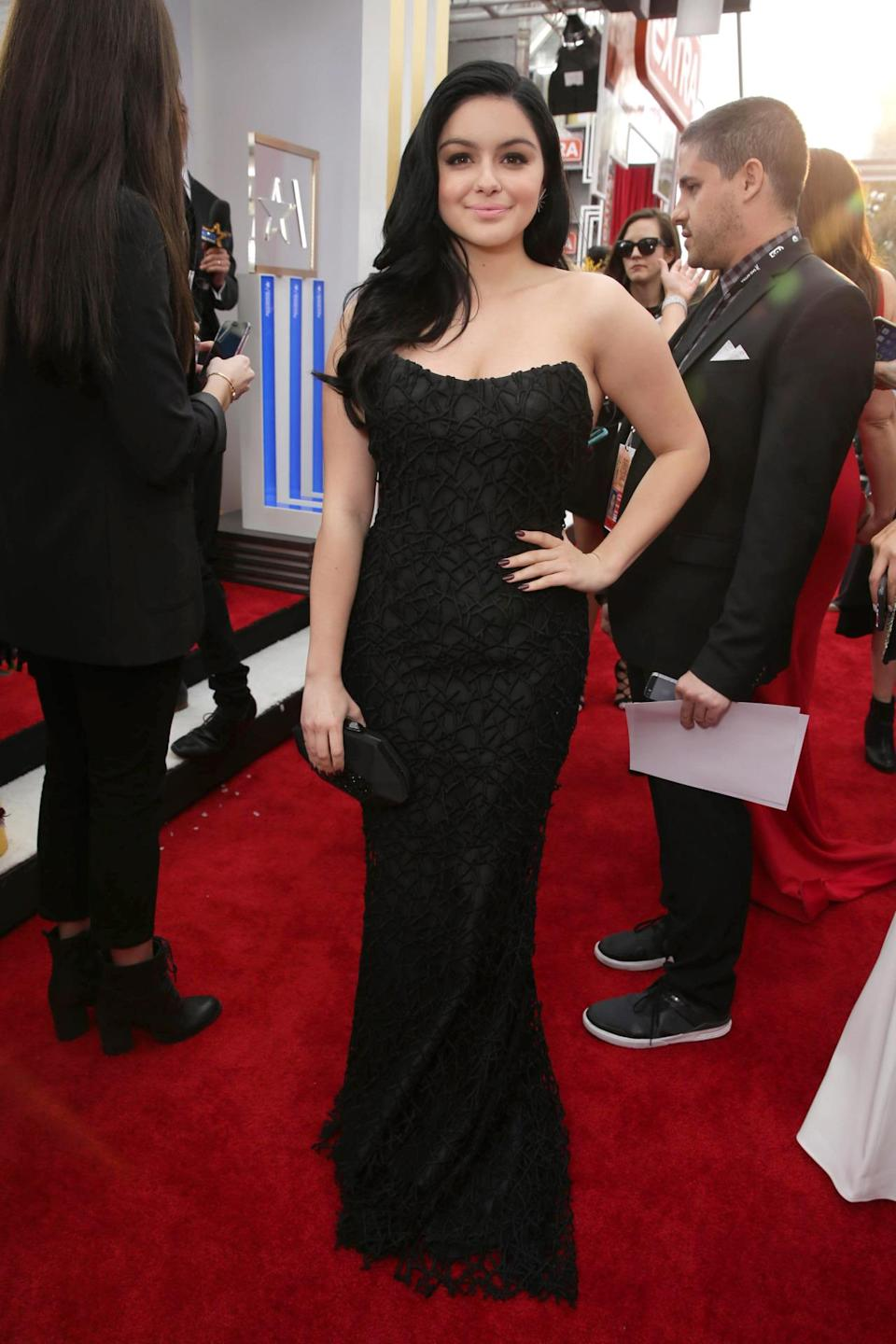 <p>The actress, who turned 18 two days ago and had a Moroccan-themed party on Friday night, looked gorgeous — and like an adult! — in a strapless Romona Keveza gown. She said searching for a red carpet look is infinitely more stressful than finding a prom look. <i>Photo: Getty Images</i> </p>