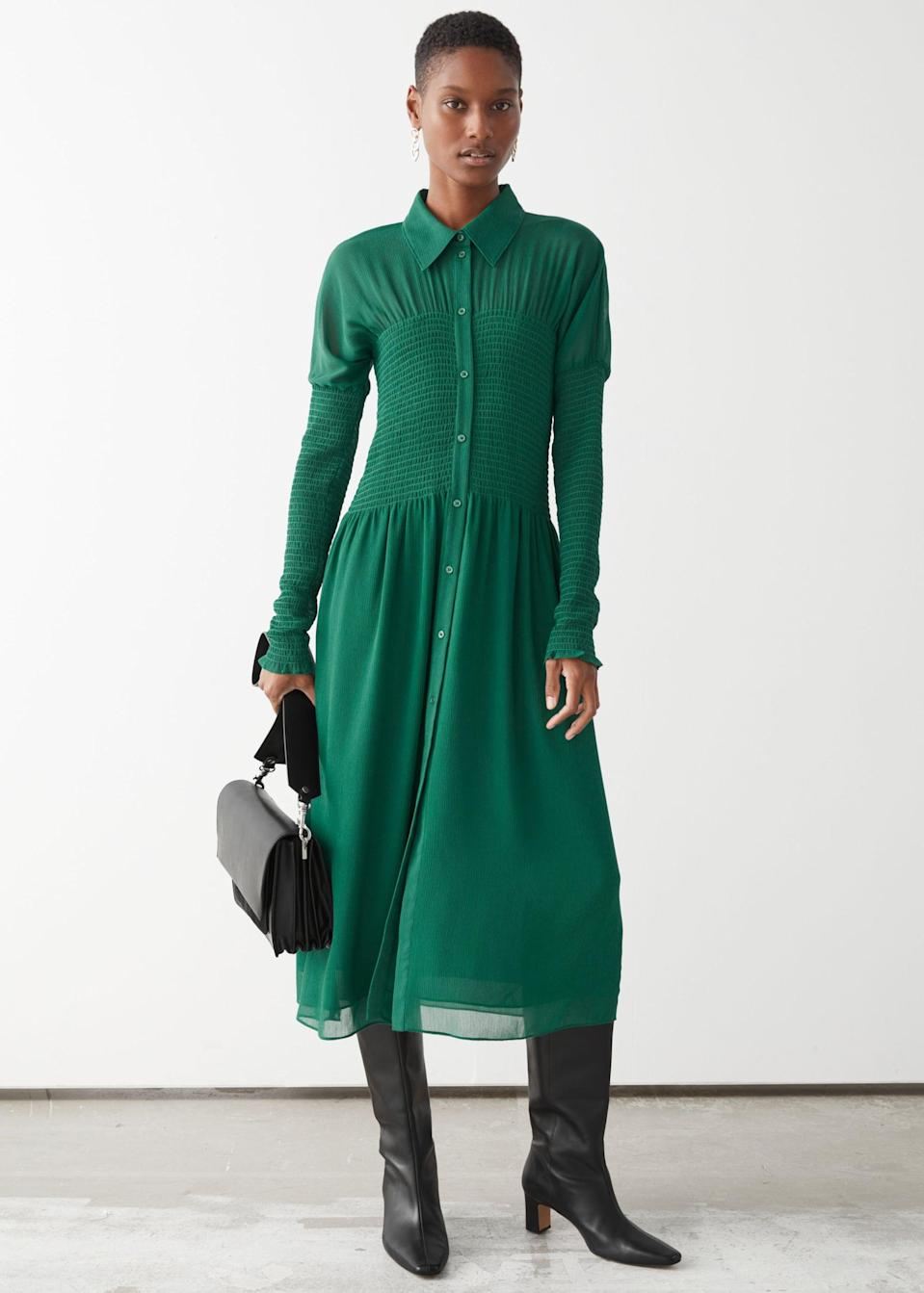 <p>Get work-ready in this statement <span>&amp; Other Stories Smocked Button Up Midi Dress</span> ($64, originally $129).</p>