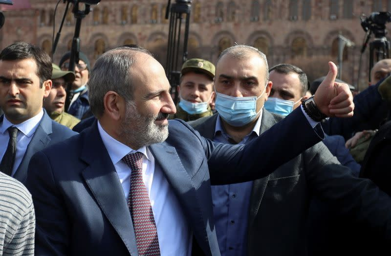 Armenian Prime Minister Nikol Pashinyan meets with supporters in Yerevan