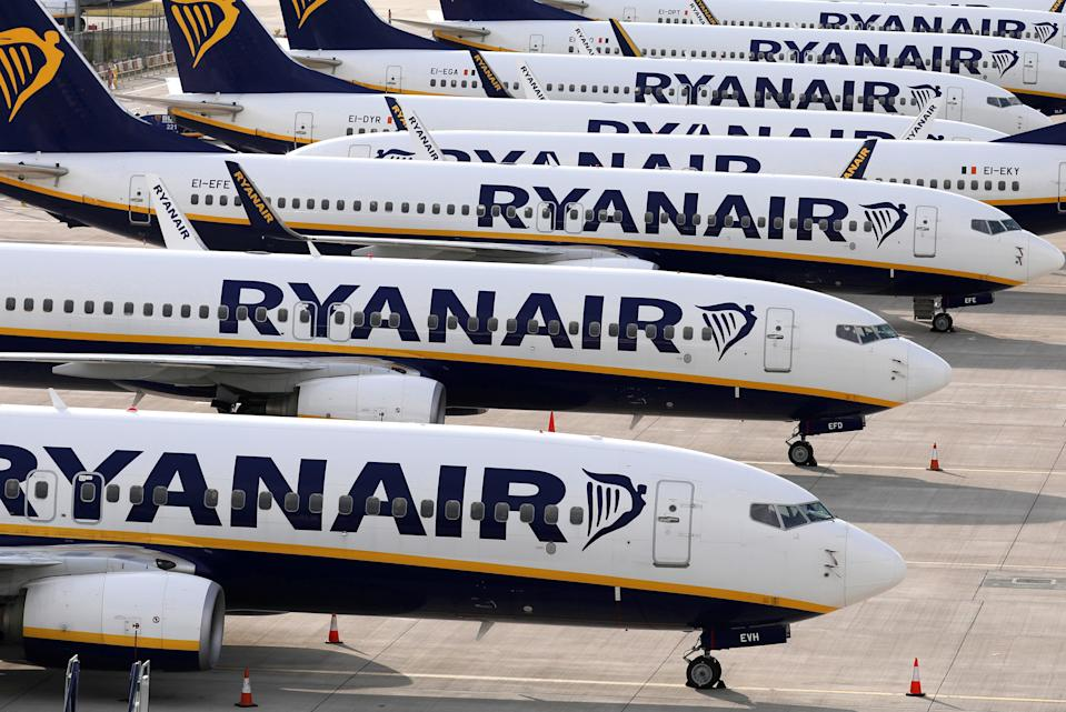 Ryanair planes parked at Stansted Airport, one of the airline's major bases, on Tuesday. Photo: Dan Kitwood/Getty Images