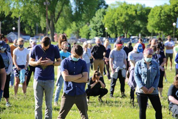 PHOTO: An interdenominational group of pastors and churchgoers join in prayer in Phelps Park in Minneapolis, Minn. on May 30, 2020. (The Brook Community Church)