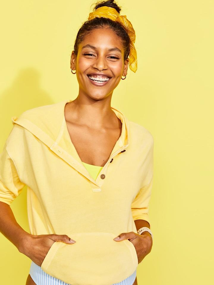 """<p>The <product href=""""https://oldnavy.gap.com/browse/product.do?pid=581570032&amp;pcid=999&amp;vid=1&amp;searchText=Tamarind#pdp-page-content"""" target=""""_blank"""" class=""""ga-track"""" data-ga-category=""""Related"""" data-ga-label=""""https://oldnavy.gap.com/browse/product.do?pid=581570032&amp;pcid=999&amp;vid=1&amp;searchText=Tamarind#pdp-page-content"""" data-ga-action=""""In-Line Links"""">Garment-Dyed French Terry Henley Hoodie </product> ($22) is nice and soft.</p>"""