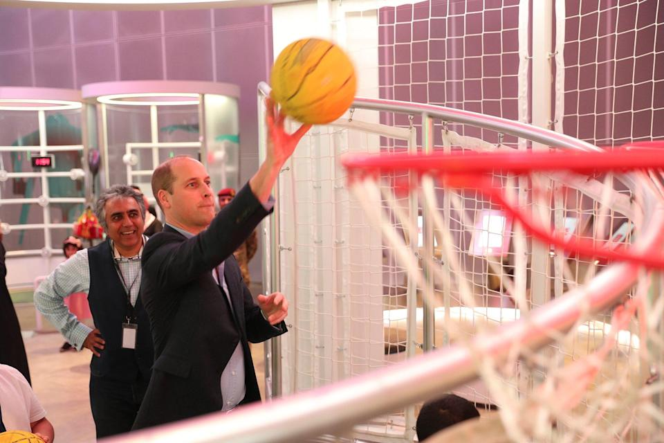 William showed off his hoop skills at the Sheikh Abdullah Al Salem Cultural Centre, where he joined young Kuwaitis in checking out the museum's interactive exhibits.