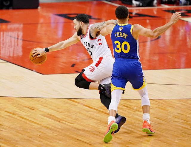 Jun 2, 2019; Toronto, Ontario, CAN; Golden State Warriors guard Stephen Curry (30) fouls Toronto Raptors guard Fred VanVleet (23) during the fourth quarter in game two of the 2019 NBA Finals at Scotiabank Arena. The Golden State Warriors won 109-104. Mandatory Credit: Kyle Terada-USA TODAY Sports
