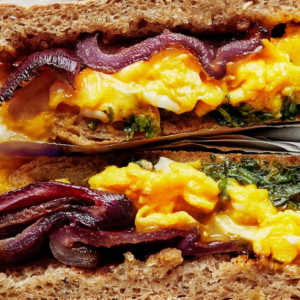 "<p>We're not saying the classic bacon, egg, and cheese isn't perfect. We're just saying you've got options. Like garlicky, soy-saucy rings of roasted red onion layered on soft scrambled eggs with herb sauce and melty cheddar. Bacon who?</p> <p><a href=""https://www.bonappetit.com/recipe/breakfast-sandwiches-onion-bacon?mbid=synd_yahoo_rss"" target=""_blank""><em><strong>Get the recipe: Healthyish Breakfast Sandwiches</strong></em></a></p>"