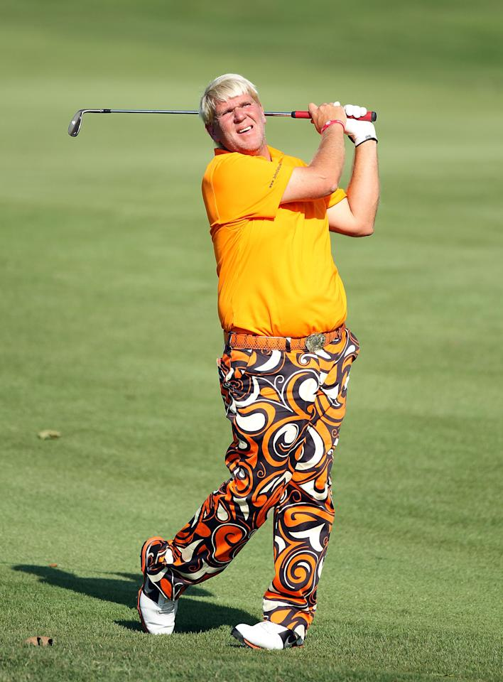 MEMPHIS, TN - JUNE 07:  John Daly hits his second shot on the par 4  17th hole during the first round of the FedEx St. Jude Classic at TPC Southwind on June 7, 2012 in Memphis, Tennessee.  (Photo by Andy Lyons/Getty Images)