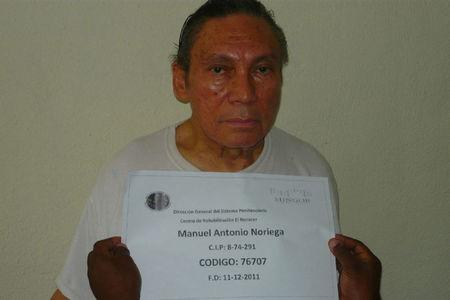 FILE PHOTO: Manuel Noriega, 77, Panama's former strongman, poses for a photograph in this picture received by Reuters in Panama City December 14, 2011. REUTERS/Panama's Ministry of Government and Justice/Handout/File Photo