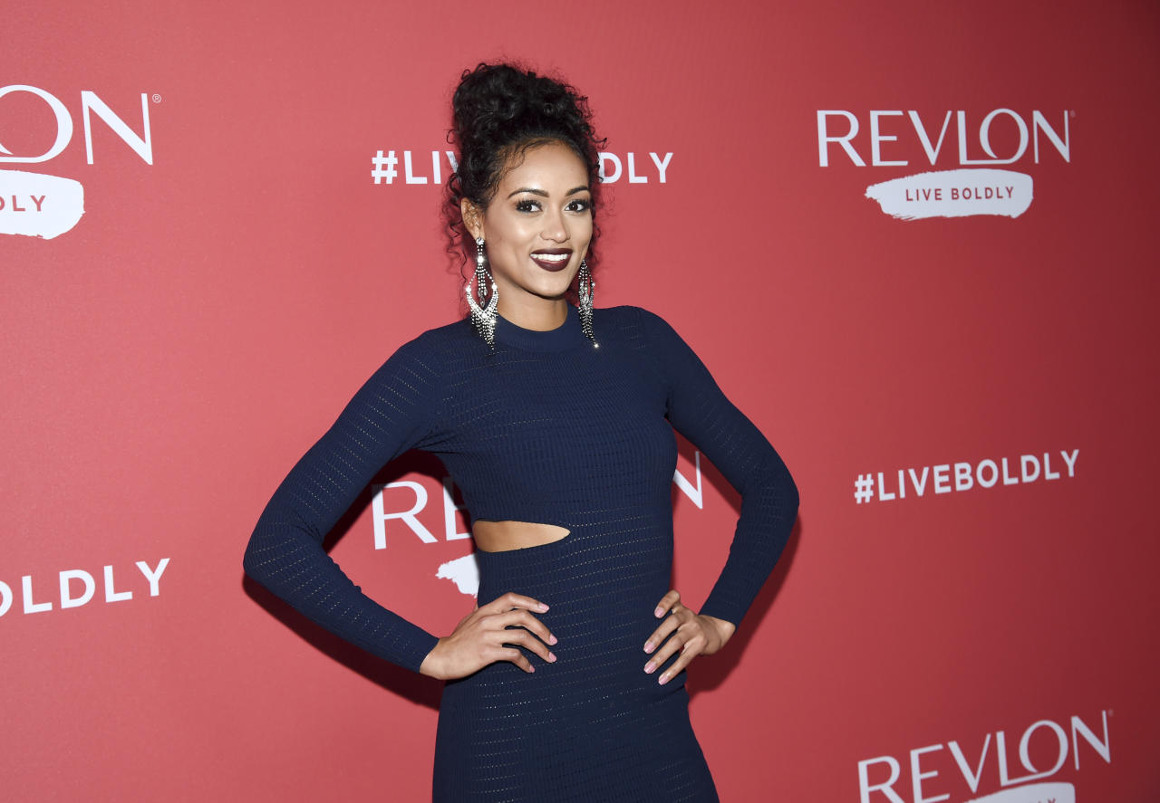 "Miss USA 2017 Kára McCullough attends Revlon's ""Live Boldly"" campaign launch event at Skylight Modern on Wednesday, Jan. 24, 2018, in New York. (Photo by Evan Agostini/Invision/AP)"