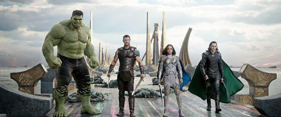 """<p>The God of Thunder heads to a planet where he encounters unexpected things — including his buddy, Hulk. But how will he get back to Asgard to defeat the villain Hela? It was directed by Taika Waititi, who was previously known for directing humorous indies like <em><a href=""""https://www.amazon.com/What-We-Shadows-Jemaine-Clement/dp/B00VVXH7TC?tag=syn-yahoo-20&ascsubtag=%5Bartid%7C10055.g.29023076%5Bsrc%7Cyahoo-us"""" rel=""""nofollow noopener"""" target=""""_blank"""" data-ylk=""""slk:What We Do in the Shadows"""" class=""""link rapid-noclick-resp"""">What We Do in the Shadows</a></em>, and he brings that comedic sensibility with him. </p><p> <a class=""""link rapid-noclick-resp"""" href=""""https://www.amazon.com/Thor-Ragnarok-Theatrical-Chris-Hemsworth/dp/B076Y4M98R?tag=syn-yahoo-20&ascsubtag=%5Bartid%7C10055.g.29023076%5Bsrc%7Cyahoo-us"""" rel=""""nofollow noopener"""" target=""""_blank"""" data-ylk=""""slk:AMAZON"""">AMAZON</a> <a class=""""link rapid-noclick-resp"""" href=""""https://go.redirectingat.com?id=74968X1596630&url=https%3A%2F%2Fwww.disneyplus.com%2Fmovies%2Fmarvel-studios-thor-ragnarok%2F3XqAT8UV8ojS&sref=https%3A%2F%2Fwww.goodhousekeeping.com%2Flife%2Fentertainment%2Fg29023076%2Fmarvel-movies-mcu-in-order%2F"""" rel=""""nofollow noopener"""" target=""""_blank"""" data-ylk=""""slk:DISNEY+"""">DISNEY+</a></p>"""