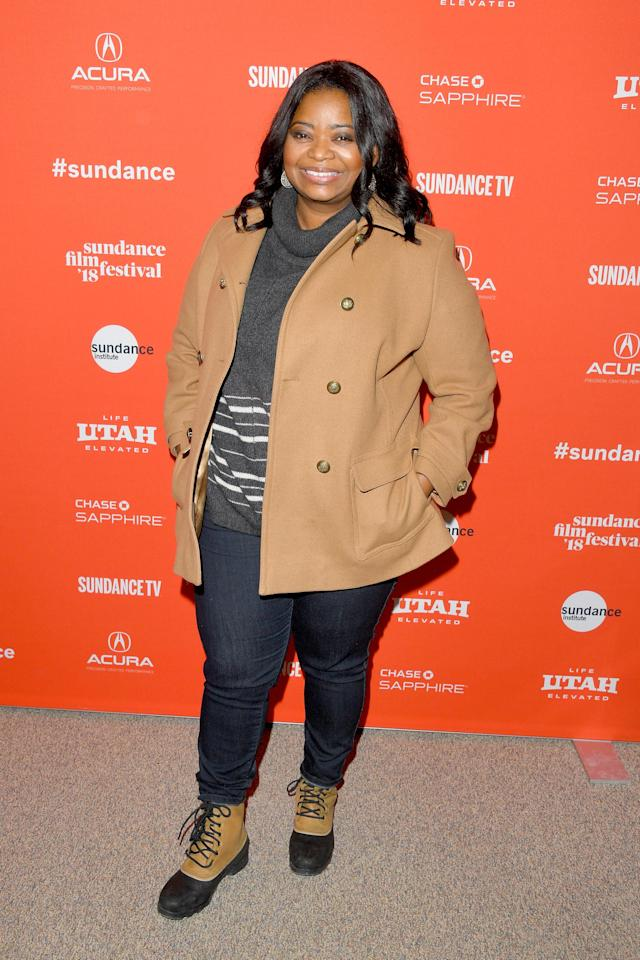 <p>Spencer wears a beige pea coat, a gray turtleneck sweater, blue jeans, and lace-up winter boots at the 2018 Sundance Film Festival in Park City, Utah. (Photo: Getty Images) </p>