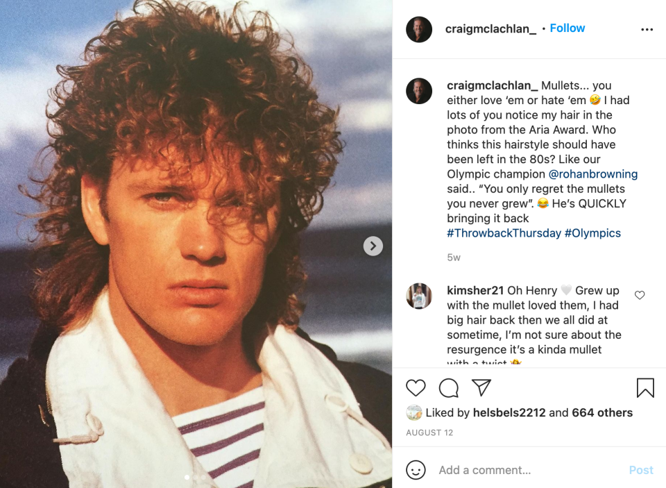 Did Craig out himself as the Mullet in this throwback photo posted in August? Photo: Instagram/@craigmclachlan_