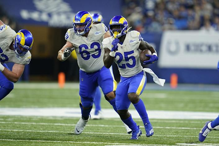 The Rams' Sony Michel (25) runs during the second half against the Colts.