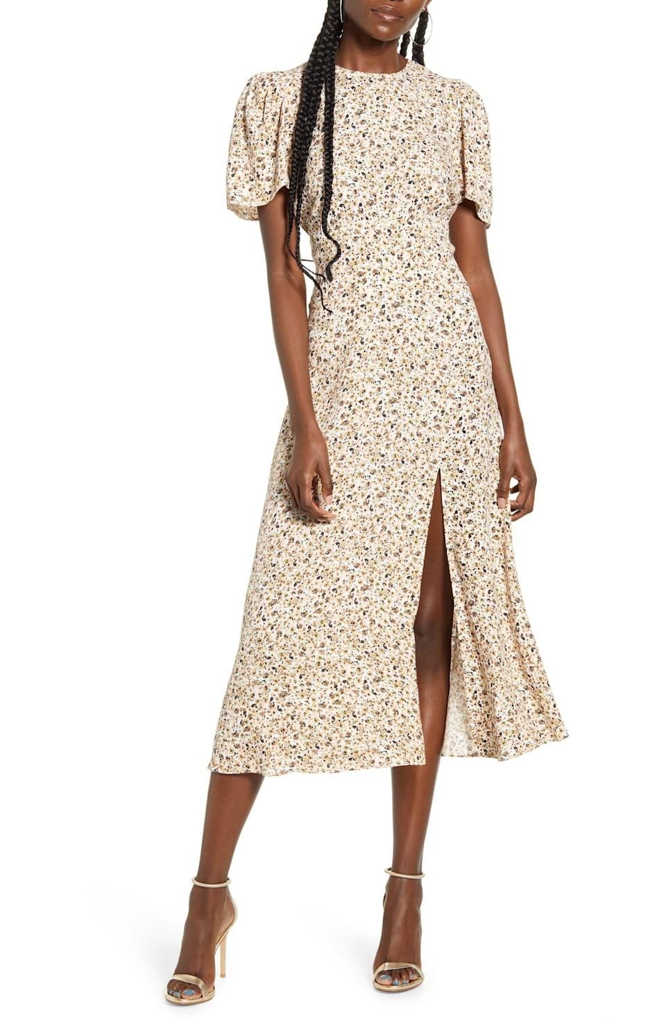 <p>The slit on this <span>AFRM Jamie Print Open Back Short Sleeve Dress</span> ($45, originally $89) is so cute.</p>