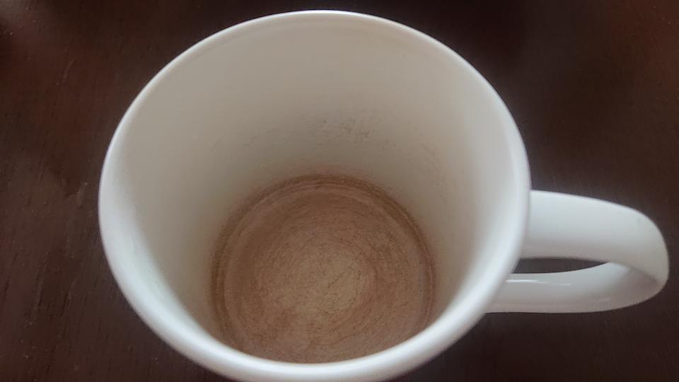 A cup stained with coffee