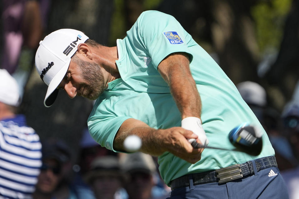 Dustin Johnson hits his tee shot on the seventh tee during the first round of the PGA Championship golf tournament on the Ocean Course Thursday, May 20, 2021, in Kiawah Island, S.C. (AP Photo/David J. Phillip)