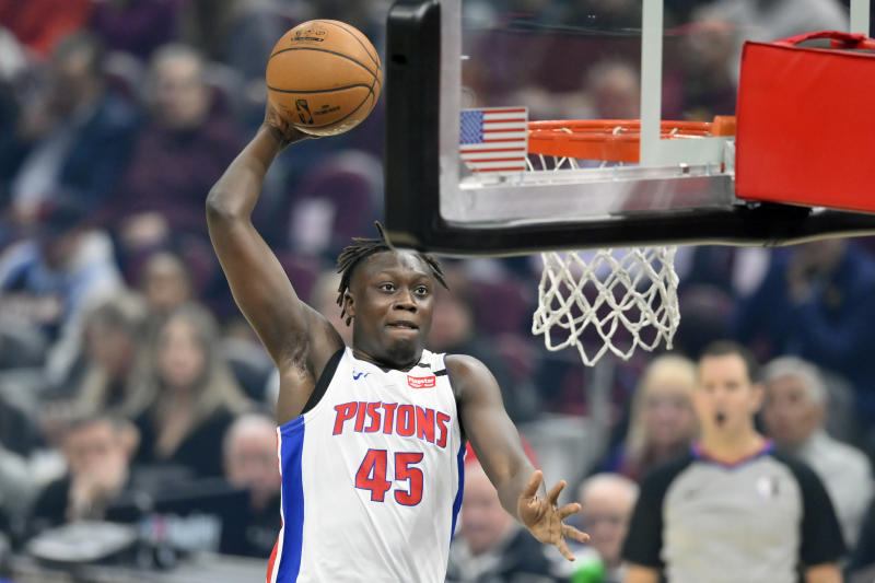 Jan 7, 2020; Cleveland, Ohio, USA; Detroit Pistons forward Sekou Doumbouya (45) dunks against the Cleveland Cavaliers in the first quarter at Rocket Mortgage FieldHouse. Mandatory Credit: David Richard-USA TODAY Sports