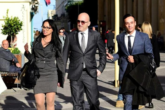 Maltese tycoon Yorgen Fenech (C) has been charged as an accomplice in the murder (AFP Photo/STRINGER)