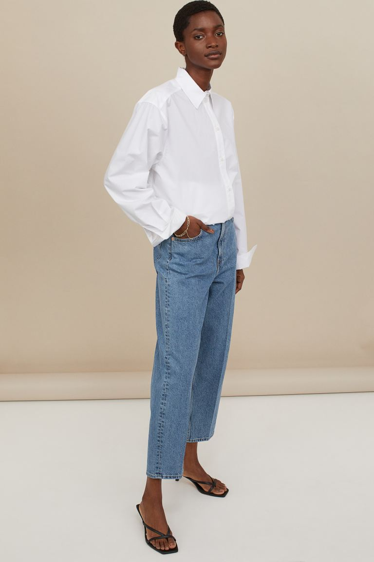 """<br><br><strong>H&M</strong> Relaxed Tapered High Jeans, $, available at <a href=""""https://go.skimresources.com/?id=30283X879131&url=https%3A%2F%2Fwww2.hm.com%2Fen_us%2Fproductpage.0969826005.html"""" rel=""""nofollow noopener"""" target=""""_blank"""" data-ylk=""""slk:H&M"""" class=""""link rapid-noclick-resp"""">H&M</a>"""
