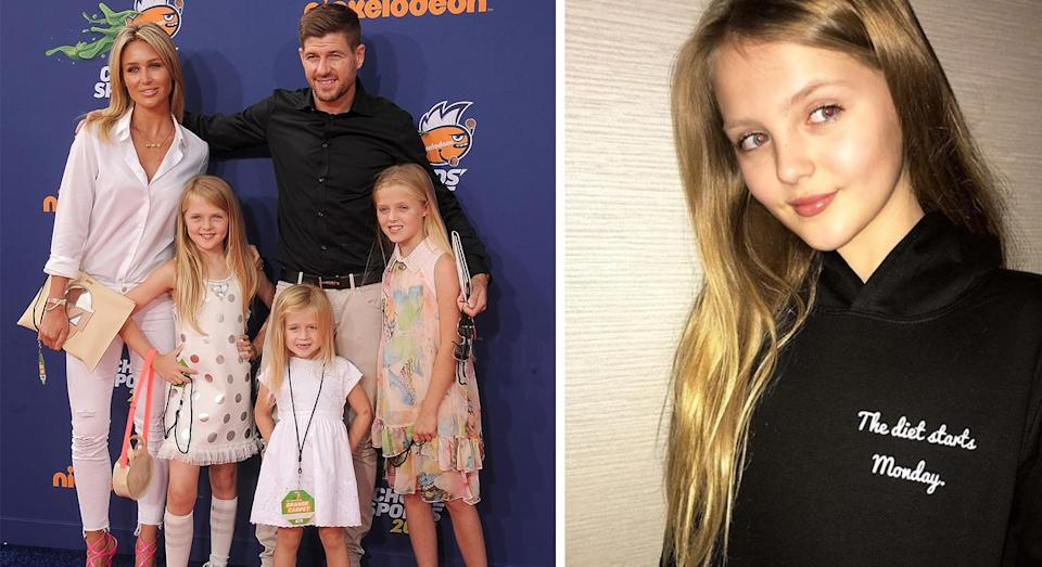 A clothing brand, launched by Steven Gerrard's daughters, has been accused of encouraging children to diet in a now deleted Instagram post [Photo: Getty and Instagram/_snatchedclothingUK]