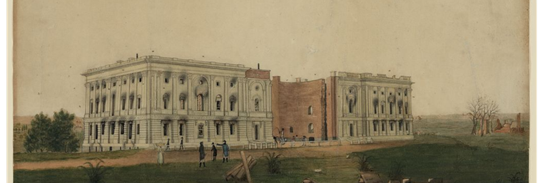 19th-century painting of the US Capitol building after being burned by British troops.
