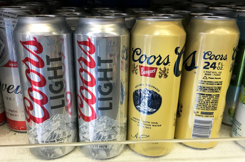 FILE PHOTO: Coors beer cans are seen for sale at a store in Manhattan, New York, U.S., April 29, 2016.