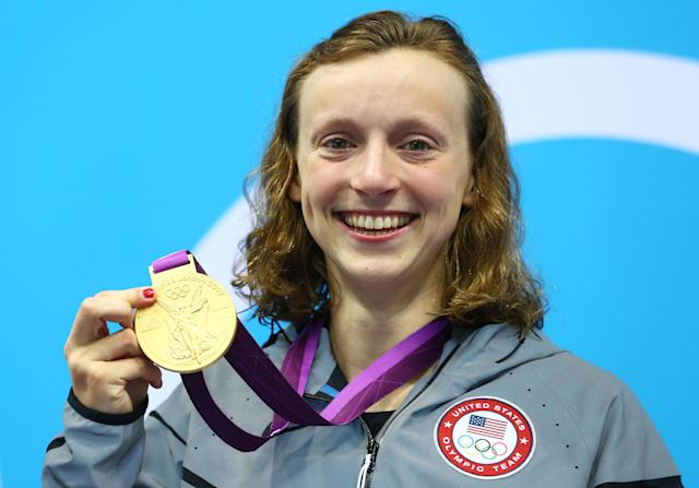 LONDON, ENGLAND - AUGUST 03: Gold medallist Katie Ledecky of the United States poses on the podium during the medal ceremony for the Women's 800m Freestyle on Day 7 of the London 2012 Olympic Games at the Aquatics Centre on August 3, 2012 in London, England. (Photo by Al Bello/Getty Images)