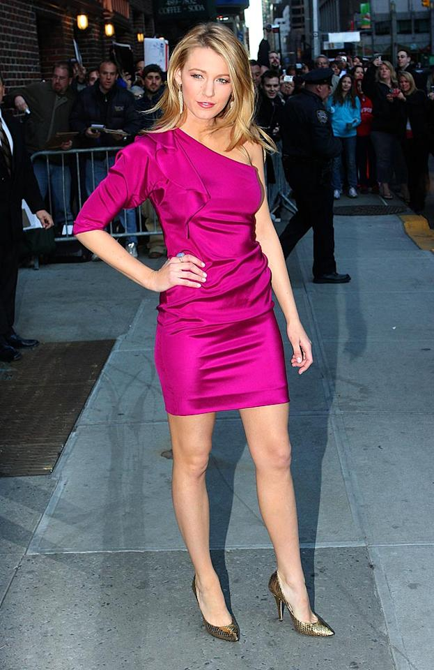"Blake Lively dressed to impress for a recent appearance on ""Late Show With David Letterman"" in a divine Diane von Furstenberg one-shouldered frock and gold Jimmy Choo pumps. Richie Buxo/<a href=""http://www.splashnewsonline.com"" target=""new"">Splash News</a> - March 24, 2009"