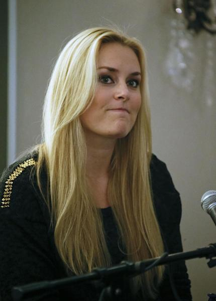 FILE - In this Nov. 23, 2012 file photo, Lindsey Vonn, of the United States, reacts during a press conference for the women's World Cup ski races in Aspen, Colo. Vonn is on the mend after surgery to repair two shredded knee ligaments from a crash at the world championships in Austria. (AP Photo/Nathan Bilow, File)