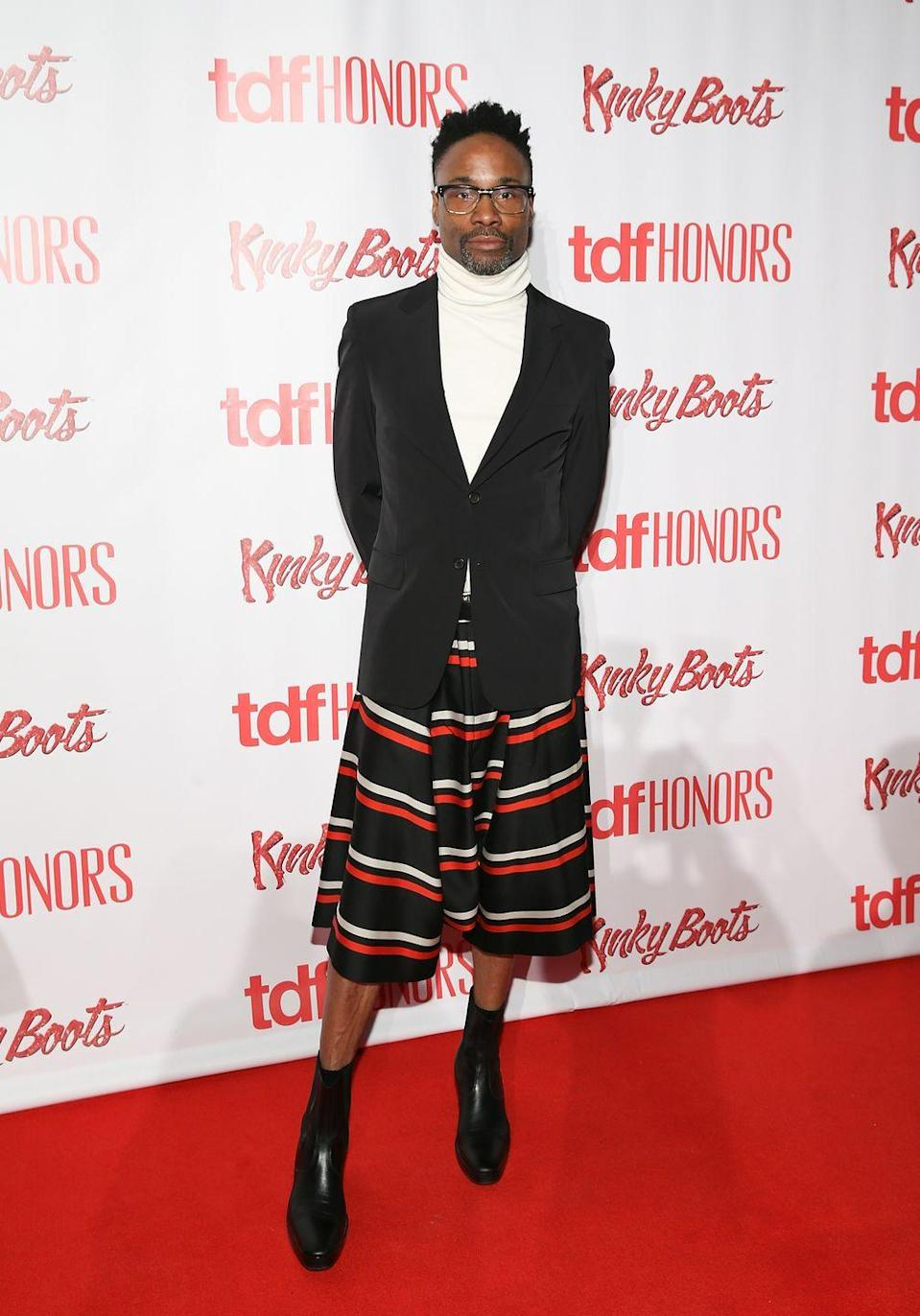 <p>Porter at the TDF Honors Broadway's <em>Kinky Boots</em> event in a striped shirt, black blazer, and white turtleneck. </p>