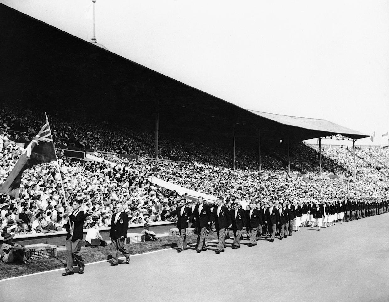 Members of the Canadian Olympic team march past the stand at Wembley Stadium in London, July 29, 1948, during opening ceremonies for the Summer Olympics. (AP Photo)