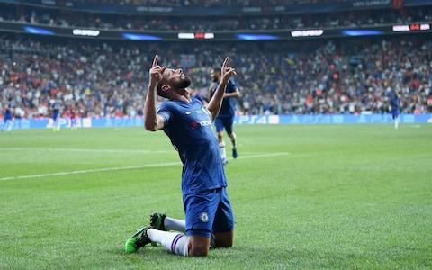 The French striker celebrates his goal that gave Chelsea the lead over Liverpool. - Credit: Getty Images