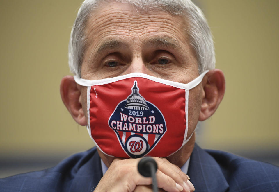 Dr. Anthony Fauci, director of the National Institute for Allergy and Infectious Diseases, listens during a House Subcommittee on the Coronavirus crisis hearing, Friday, July 31, 2020 on Capitol Hill in Washington. (Kevin Dietsch/Pool via AP)