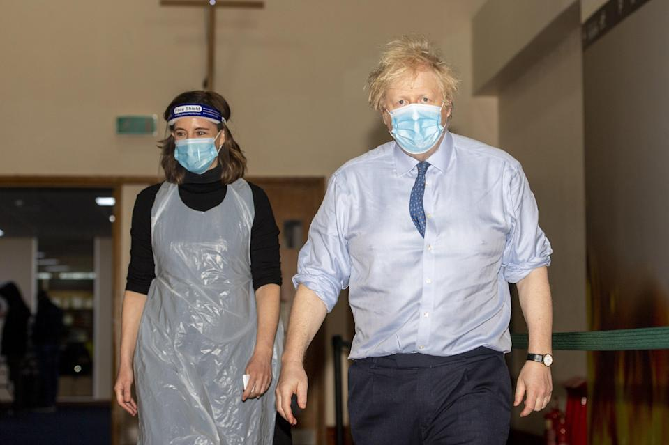 <p>Boris Johnson during a visit to a vaccination centre at Jesus House for All The Nations, a church in Brent, North London</p> (PA)