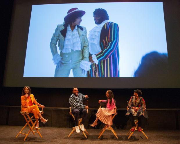 In 2019, ABC & ABC Studios hosted a screening of the 'Purple Rain' episode and panel of 'black-ish' Emmy nominees, Anthony Anderson (second from left) and costume designer Michelle Cole (second from left) and her costume supervisor Devon Patterson, moderated by Zuri Hall (far left). <br>