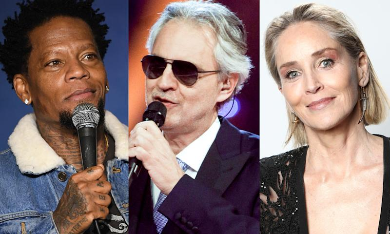 D.L. Hughley, Andrea Bocelli and Sharon Stone are a few of the stars directly affected by COVID-19. (Photo: Getty Images)