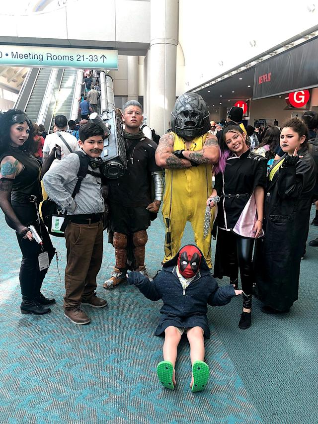 <p>Cosplayers dressed as the cast of <i>Deadpool 2.</i> (Photo: Angela Kim/Yahoo Entertainment) </p>