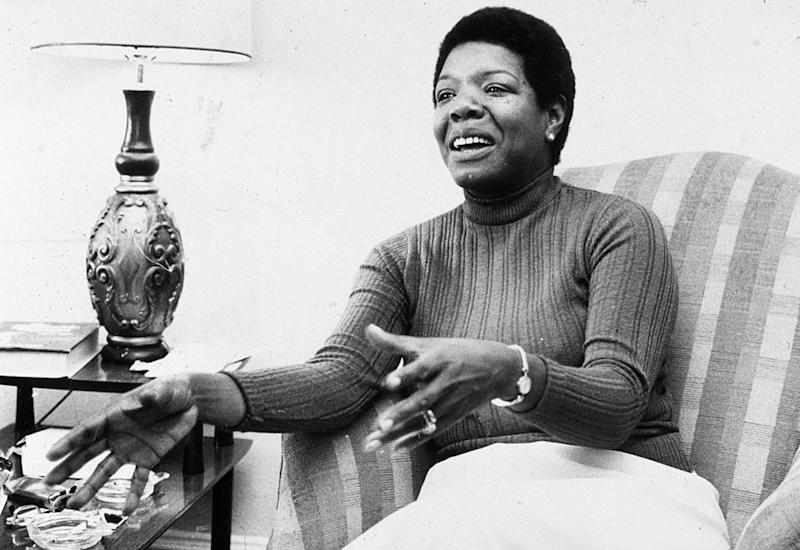 American poet and author Maya Angelou gestures while speaking in a chair during an interview at her home. | Jack Sotomayor—Getty Images