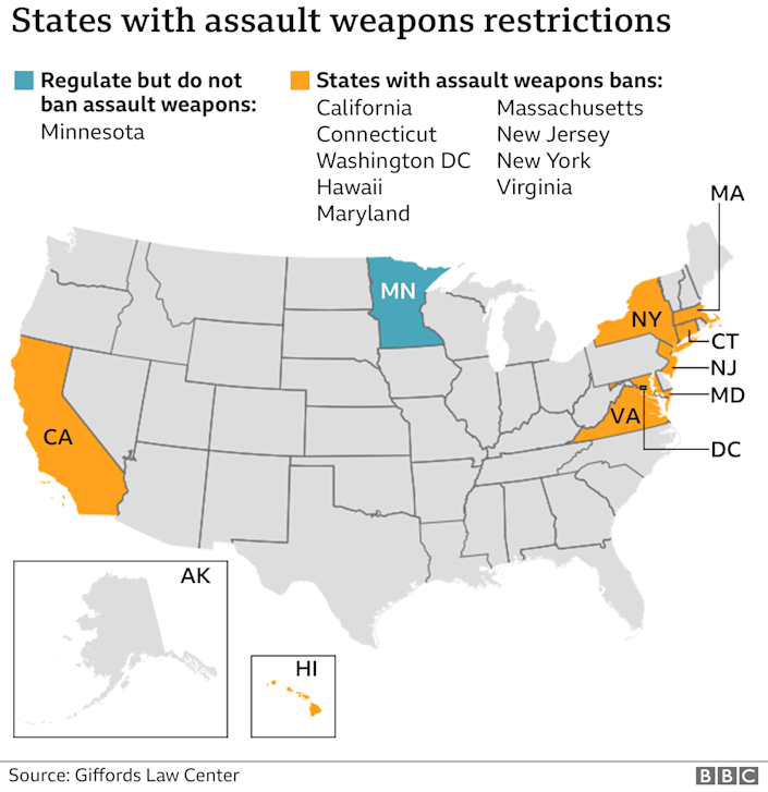 States banning assault weapons, April 2021